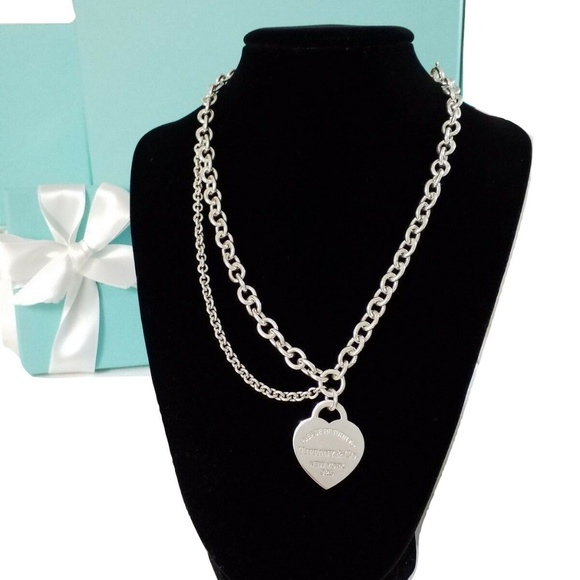 3ff15ed70a920 Tiffany & Co Double Chain Heart Tag Necklace
